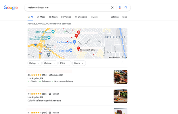 search restaurant near me_screenshot   Why Your Google Listing Is More Important Than Your Social Presence